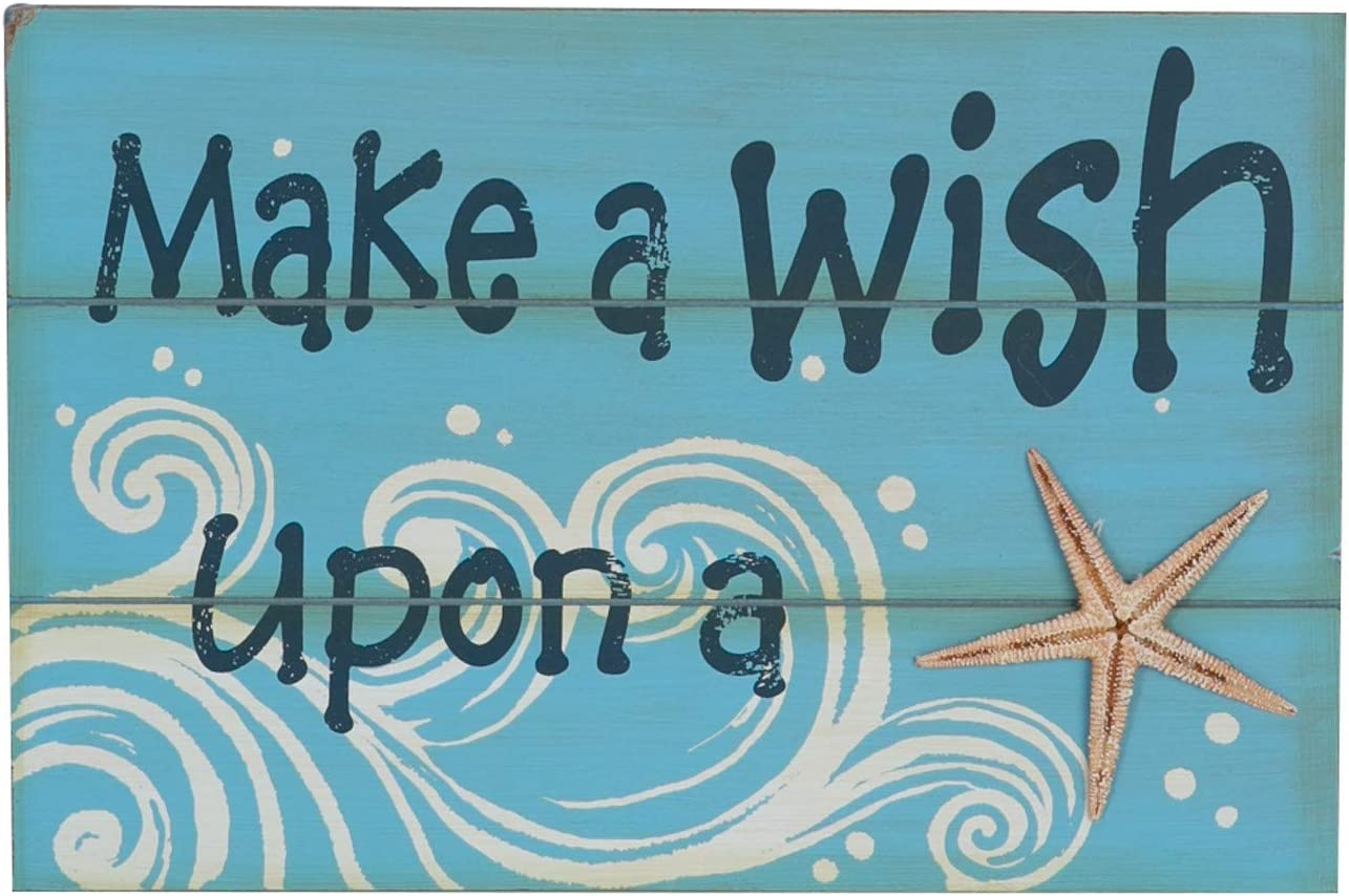 Beachcombers Make A Wish Coastal Plaque Sign Wall Hanging Decor Decoration for The Beach Multi