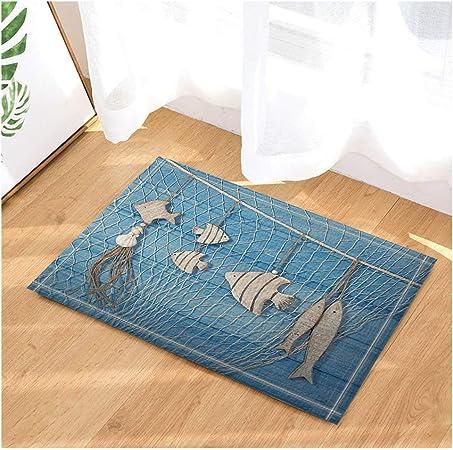 Marine vita marina decorativa e reti da pesca contro il bagno in legno blu tappeto antiscivolo zerbino passaggio dingresso pavimento interno porta dingresso mat bambini bagno tappetino 60X40CM