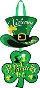 St. Patrick's Day Door Wood Sign Irish Hanging Door Decor Green Hats and Shamrock Clover Wooden Sign Hanging Welcome Wall Sign Ornament for St. Patrick's Day Party Decoration