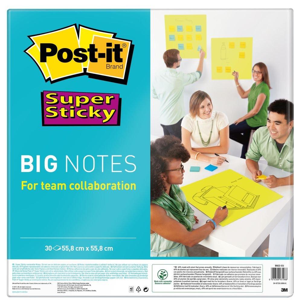 Post-it,45 Foglietti Adesivi Xl Super Sticky, Blocco Fogli Adesivi per Sale Riunioni,Confezione da 4 Blocchetti,Colori Neon,101 X 152 Mm 3M 6445-4SS