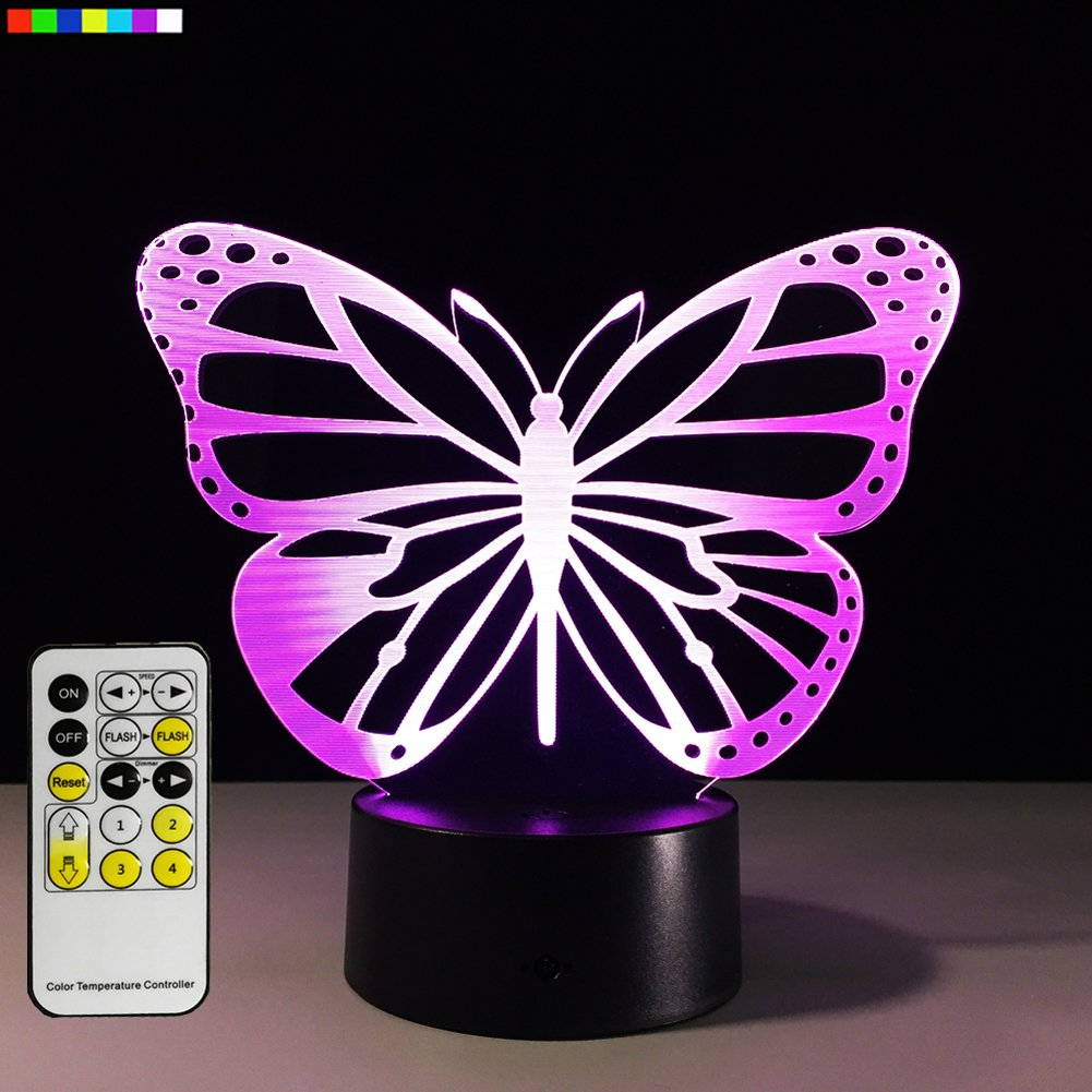 Easuntec Baby Night Light Butterfly 7 Colors Change Remote Birthday Gifts Her Girl Gifts A Girl Animal Lover Baby Room Decor (Butterfly)