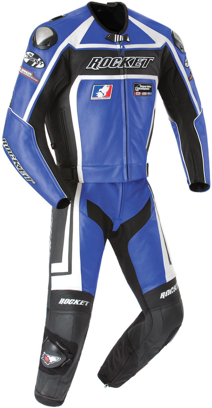 Joe Rocket Speedmaster 5.0 Men's Leather 2-Piece Motorcycle Race Suit (Blue/Black, Size 48)