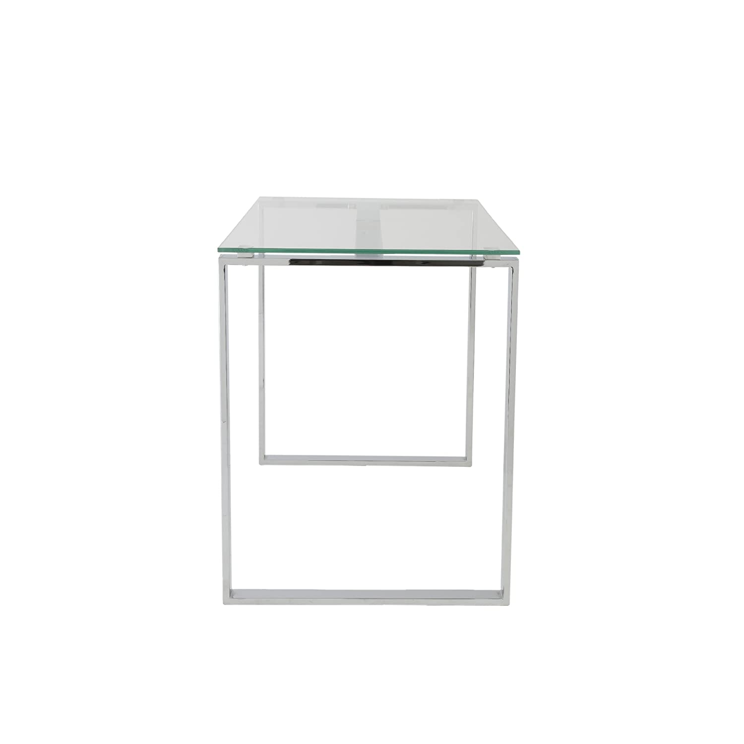 chrome office desk. Amazon.com: Eurø Style Diego Clear Glass Top Desk With Polished Stainless Steel Base: Kitchen \u0026 Dining Chrome Office