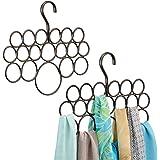 mDesign porte-foulard – rangement foulard pour écharpes et foulards – pack de 2 – cintre foulard avec 18 anneaux – couleur : bronze