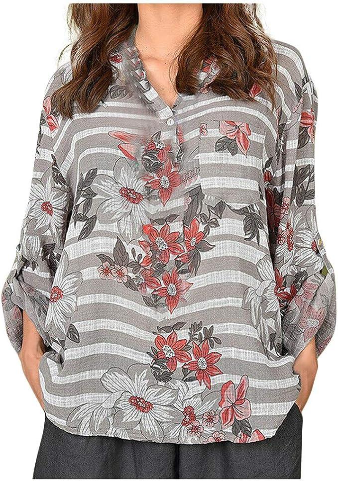 Tops Femmes T chemisier femme imprimé à manches longues UK Shirt Casual Long shirts Plus