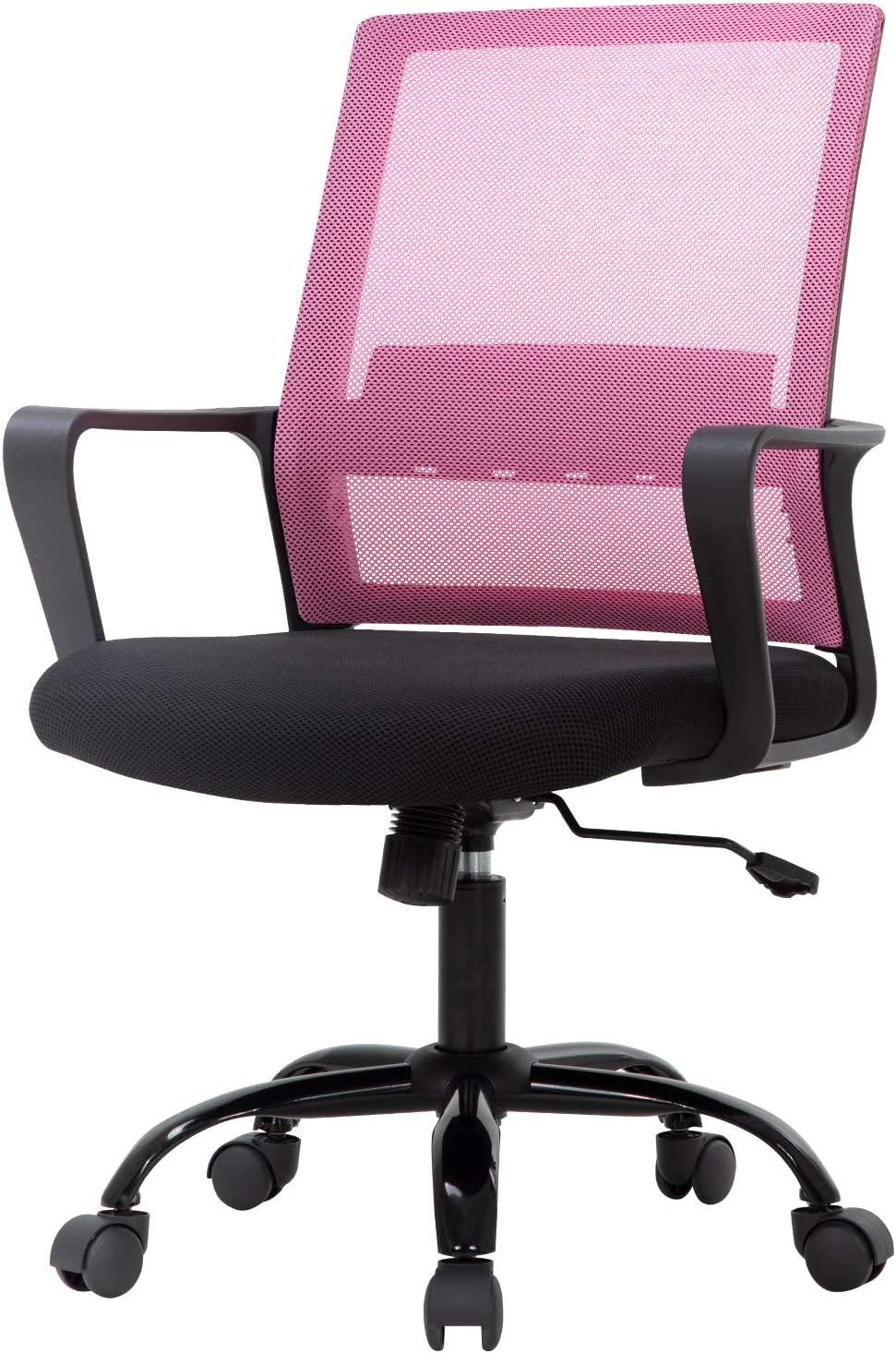 Office Chair Ergonomic Desk Task Chair Mesh Computer Chair Mid-Back Mesh Home Office Swivel Chair Modern Executive Chair with Wheels Armrests Lumbar Support(Pink)