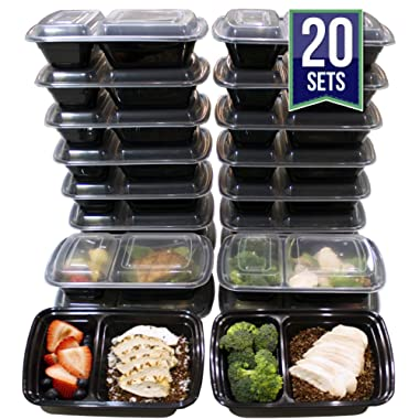 [20 Pack] 32 Oz. 2 Compartment Food Containers Durable BPA Free Plastic Reusable Food Storage Container Microwave & Dishwasher Safe w/Airtight Lid For Portion Control & 21 Day Fix