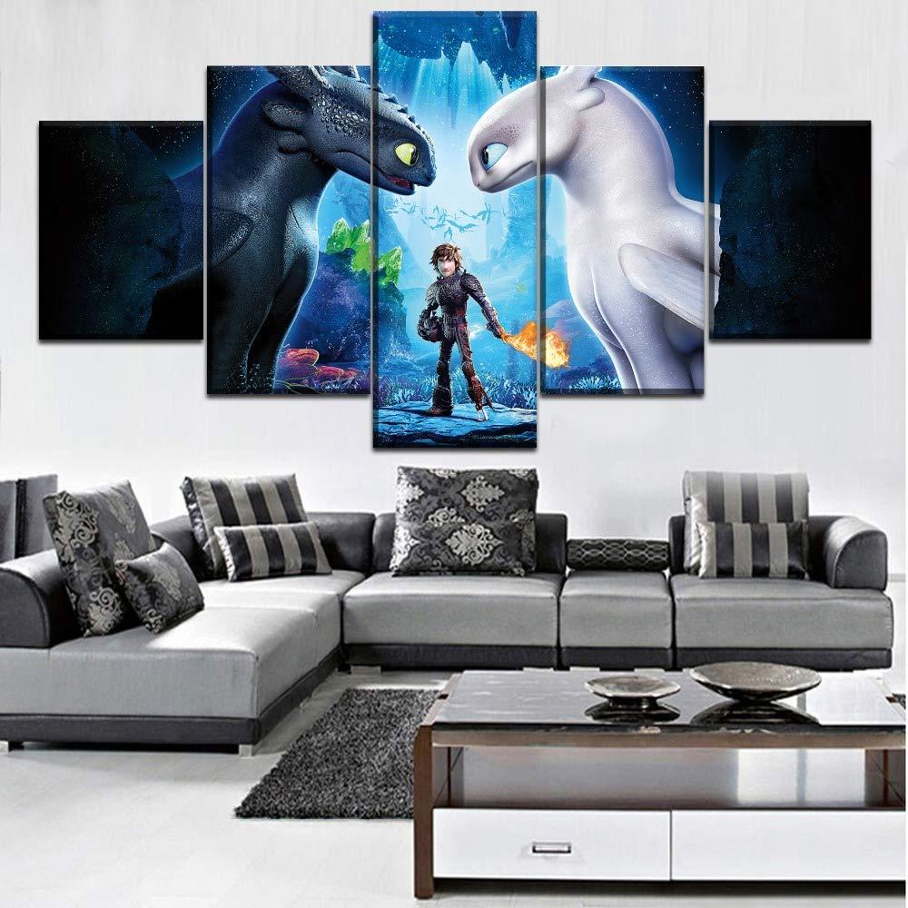JSBVM 5 Panel Wandmalerei Segeltuch HD-Druck Drachenzähmen leicht gemacht Bilder Modular Poster Für Wohnzimmer Wohnkultur