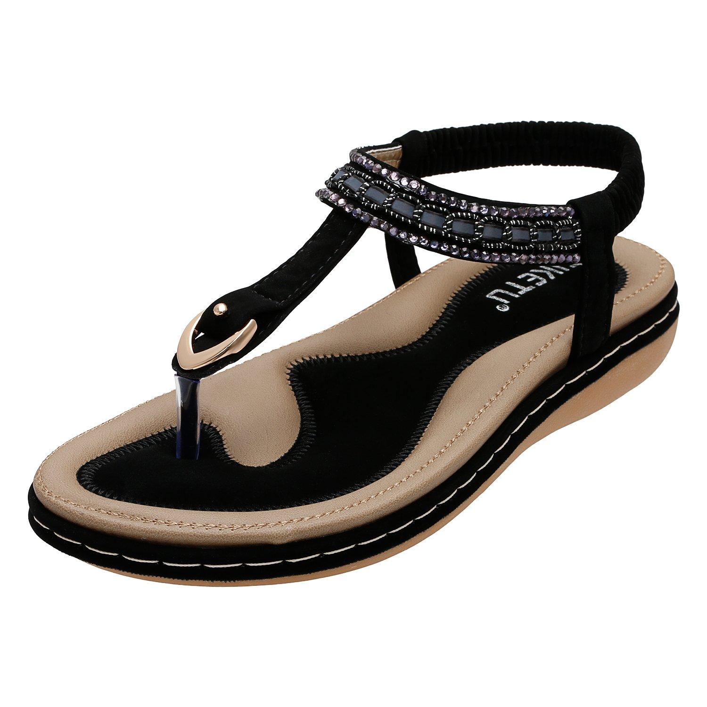 KUONUO Women Flat Sandals Bohemian Glitter Summer Beach Elastic Back Strap Rhinestone Sandals for Women Clip Toe Flip Flops Shoes Black 7 B(M) US