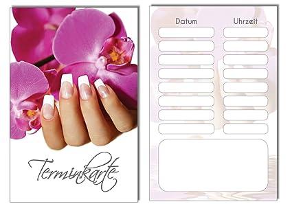 100 Terminkarten Bestellkarte Orchidee Nails Nagelstudio Bestempelbar