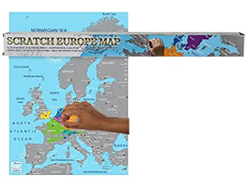 out of the blue scratch off map of europe amazoncouk kitchen home