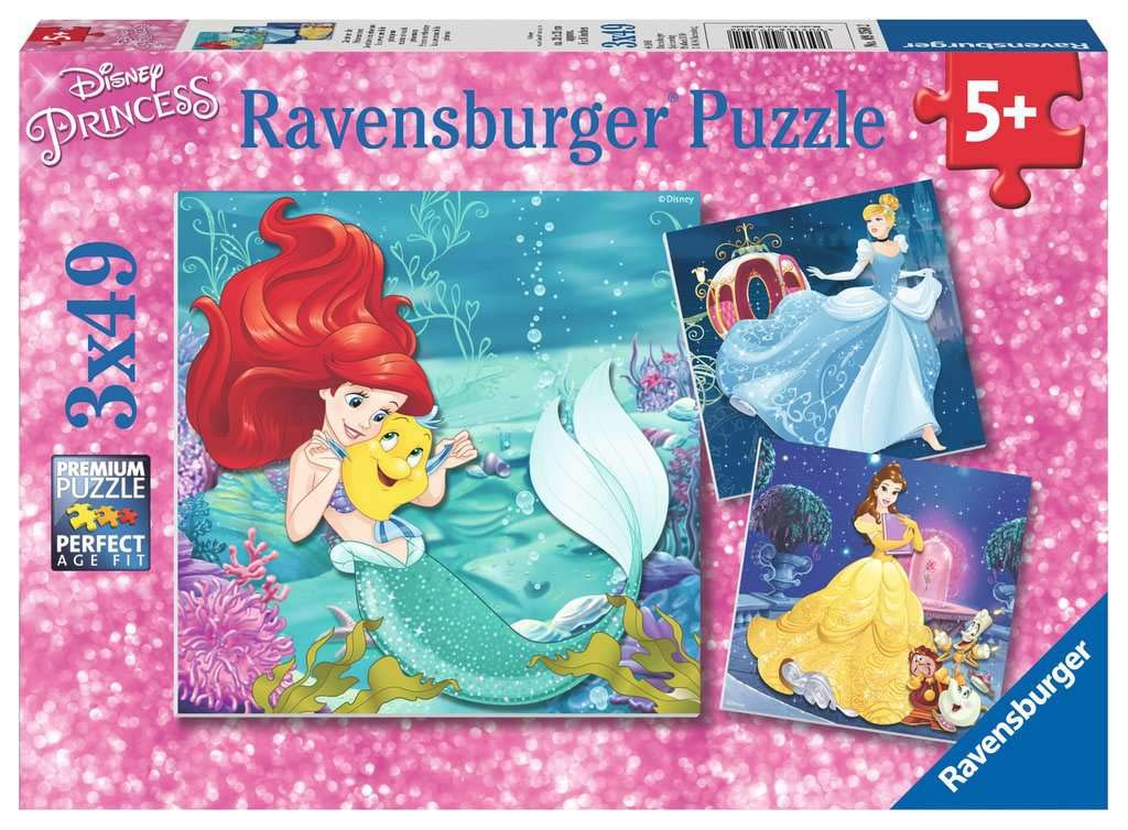 Ravensburger 9350 Disney, Princess Adventure 3 x 49 Piece Jigsaw Puzzles for Kids Age 5 Years and up