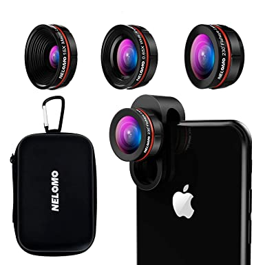 san francisco 982e6 c89f0 NELOMO Universal Professional HD Camera Lens Kit for iPhone  X/8/7Plus/7/6sPlus/6s, Samsung S8+/S8 and other Cellphones (230° Fisheye  Lens, 0.65X ...