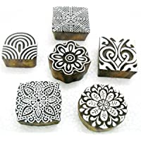 HOME4MAX Wholesale Pack of Six Unique Exotic Designs Wooden Block Stamps/Tattoo/Handcarved Indian Textile Printing Blocks