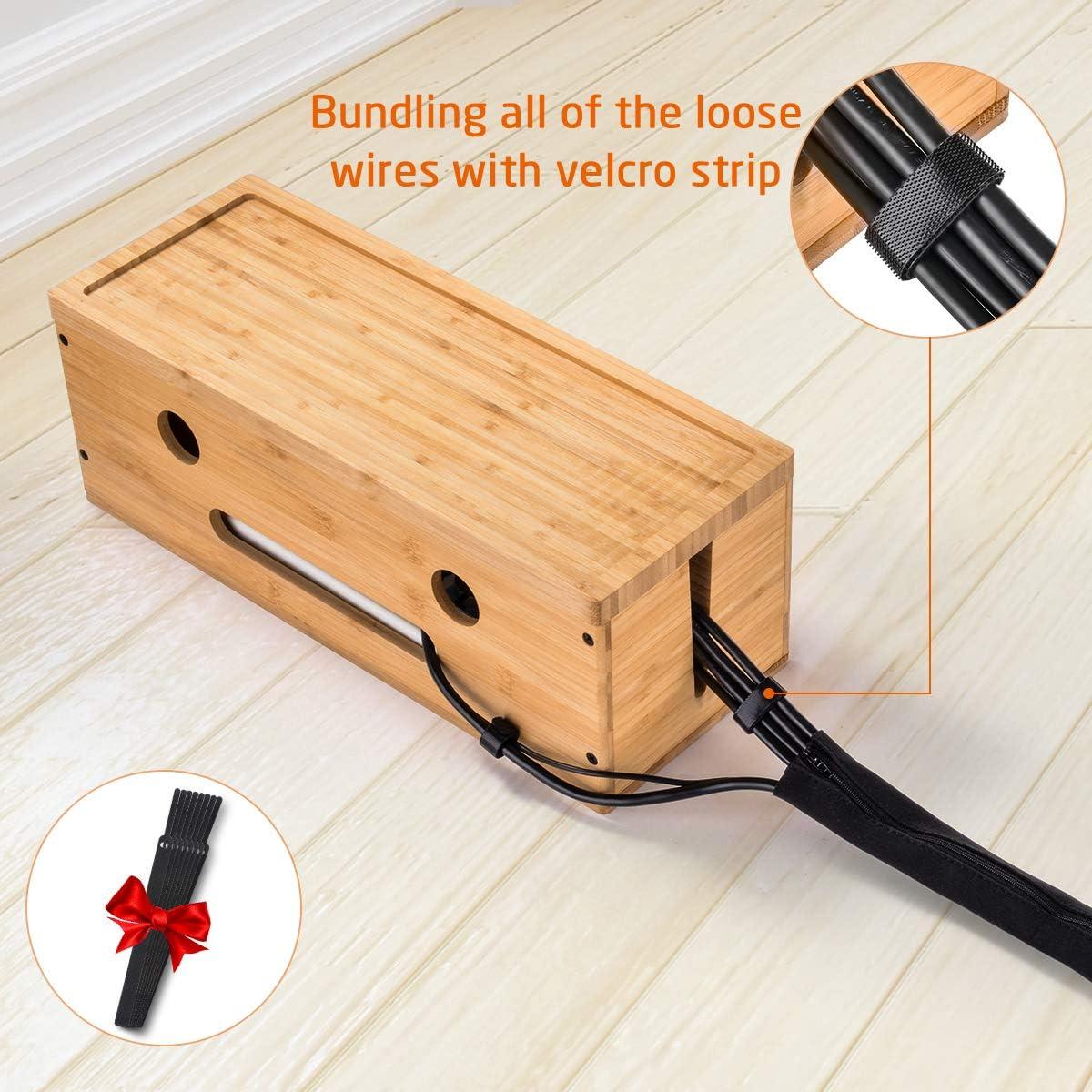 8 Klettverschl/üsse DIY Kabel-Organizer Box mit Rei/ßverschlussschutzh/ülle Computer riesiger Stauraum IKKLE Kabel-Management Box aus Holz Ideal f/ür Schreibtisch f/ür die Sicherheit Ihrer Kinder