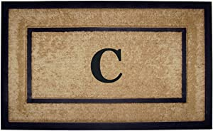 Nedia Home Single Picture Black Frame with Coir Rubber Border Dirt Buster Mat, 22 by 36-Inch, Monogrammed C