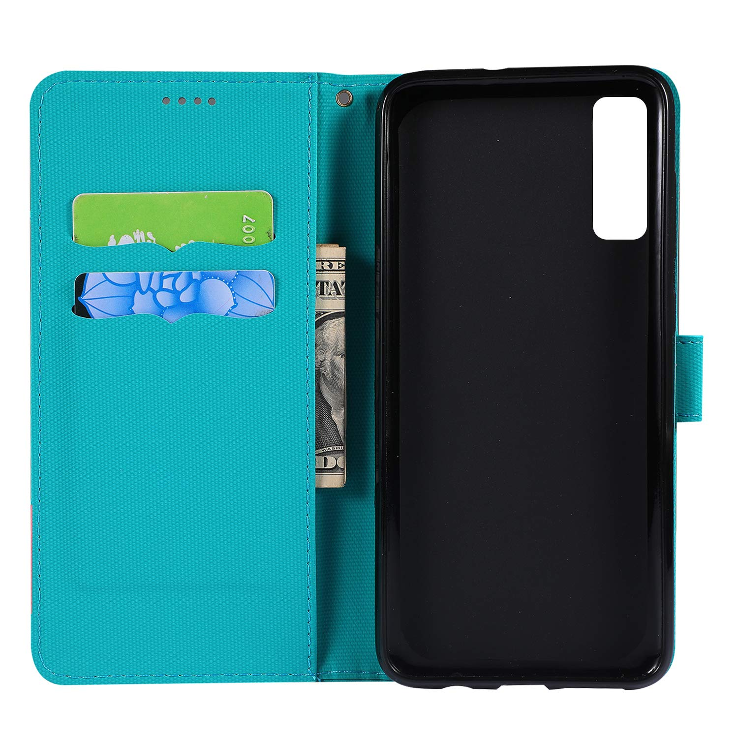 Lomogo Samsung Galaxy A7 2018 2018 - LOGHU040078 Blue // A750 Case Leather Wallet Case with Kickstand Card Holder Shockproof Flip Case Cover for Galaxy A7
