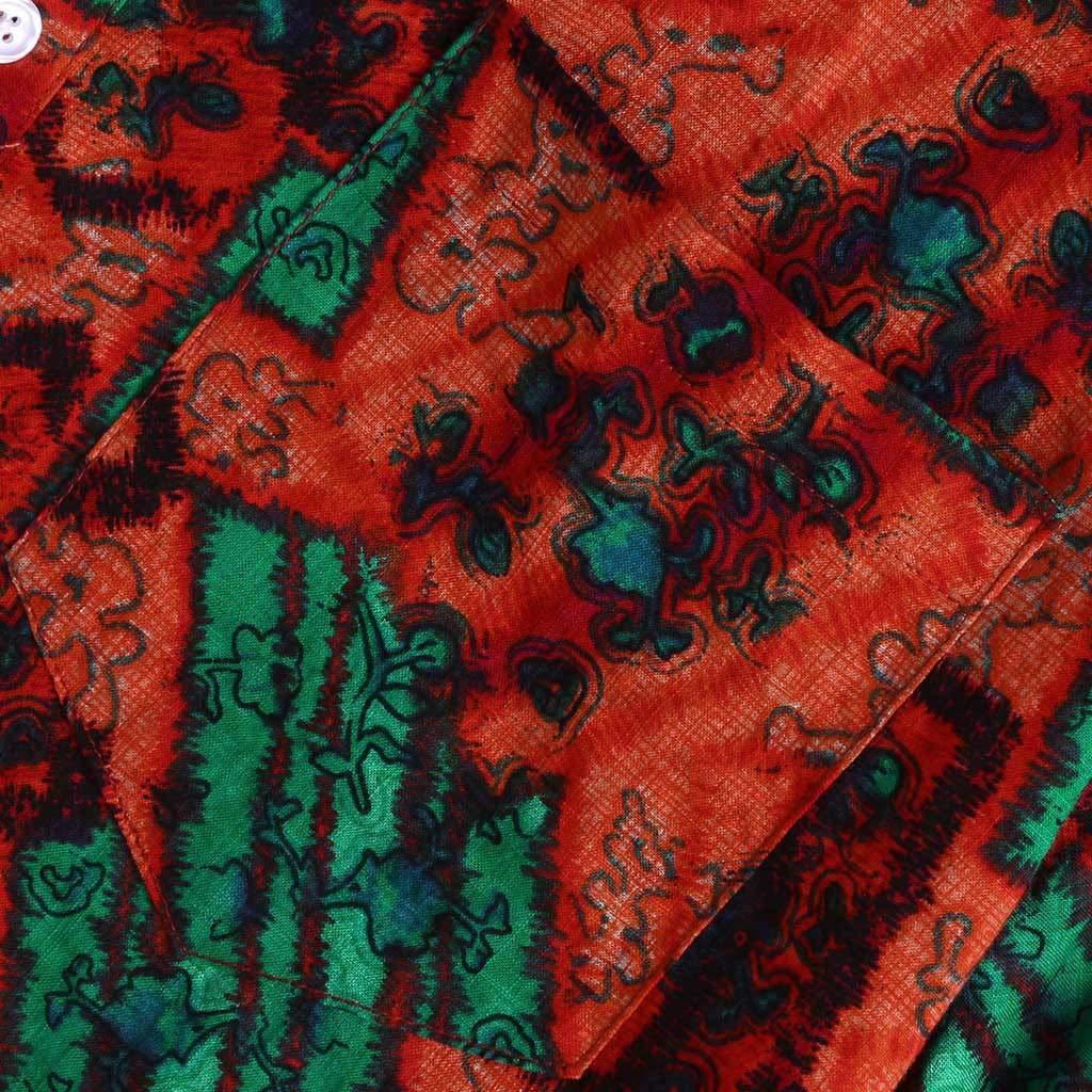 Koolee Mens Vintage Hawaii Floral Print Chest Pocket Turn Down Collar Short Sleeve Loose Shirt