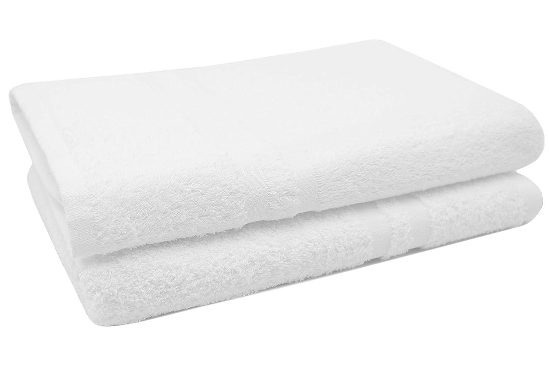 """ZOLLNER® 2 pezzi d'asciugamani/teli da doccia, in morbida e voluminosa spugna 70x140 cm bianco, con due bordature 100% cotone, direttamente dallo specialista per alberghi, serie """"Amalfi"""" serie Amalfi"""