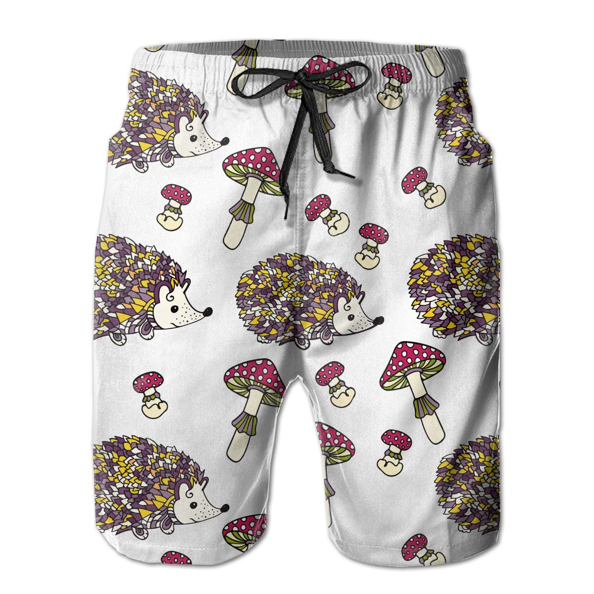 JF-X Hedgehog with Mushroom Mens Summer Beach Surf Board Shorts Quick Dry Swimming Trunks Casual Loose Sleep Short Pants