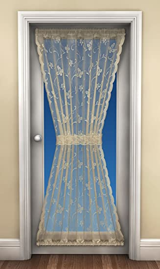 Lace Door Curtain, Net Curtains, Includes Tie Back, 45