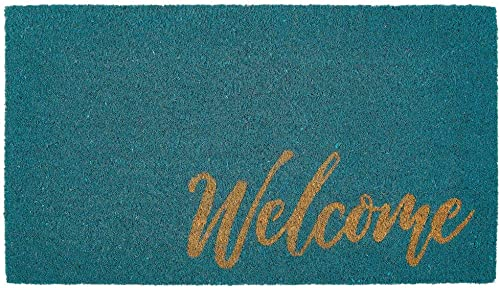 mDesign Rectangular Coir and Rubber Entryway Welcome Doormat with Natural Fibers for Indoor or Outdoor Use – Decorative Script Welcome Design – Turquoise Natural
