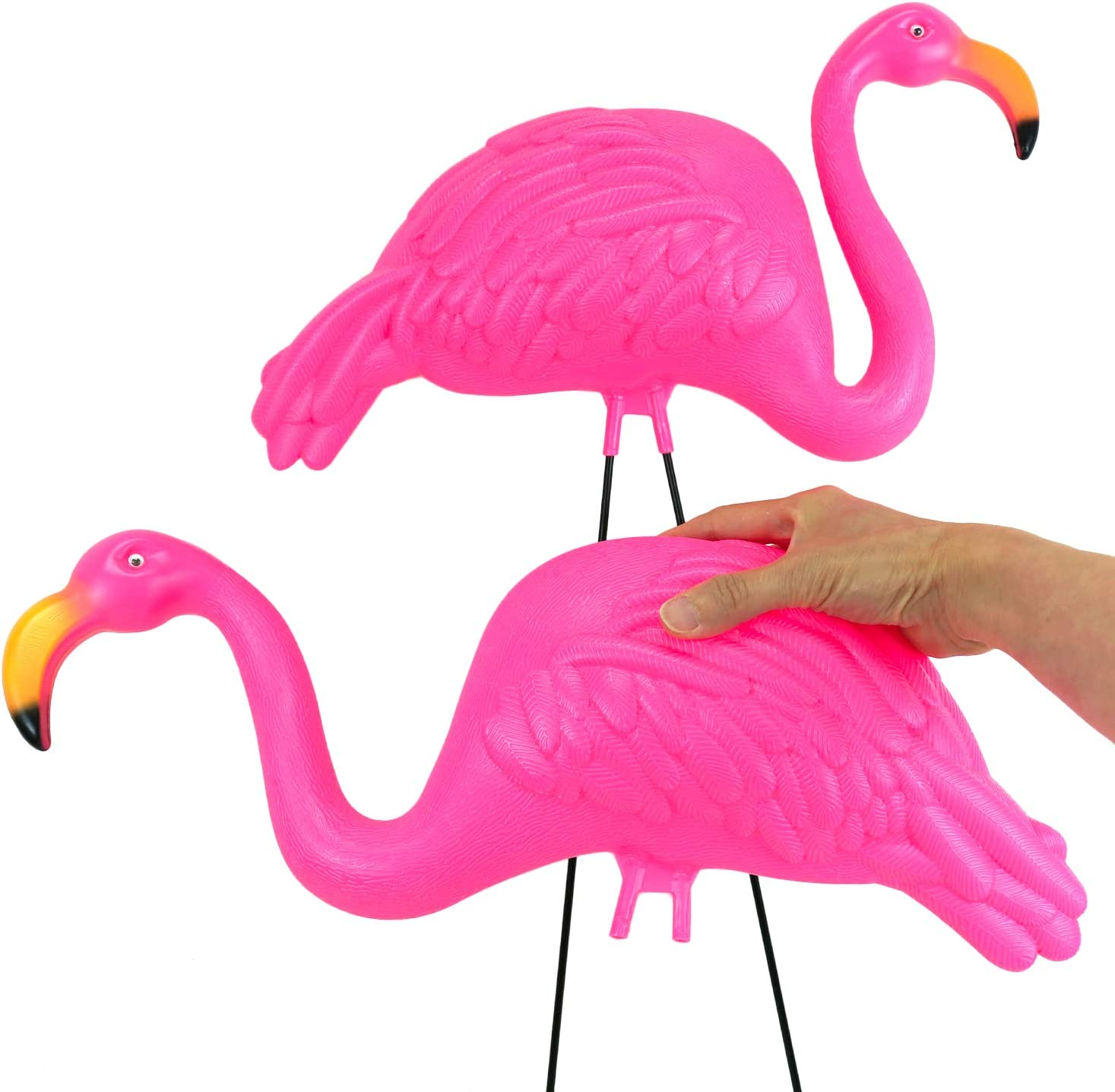 """GIFTEXPRESS Pack of 2, 34"""" Large Bright Pink Flamingo Yard Ornament/ Flamingo Lawn Ornaments/ink Flamingo Garden Yard Stakes/ Adjustable Feet Length and Gesture : Garden & Outdoor"""