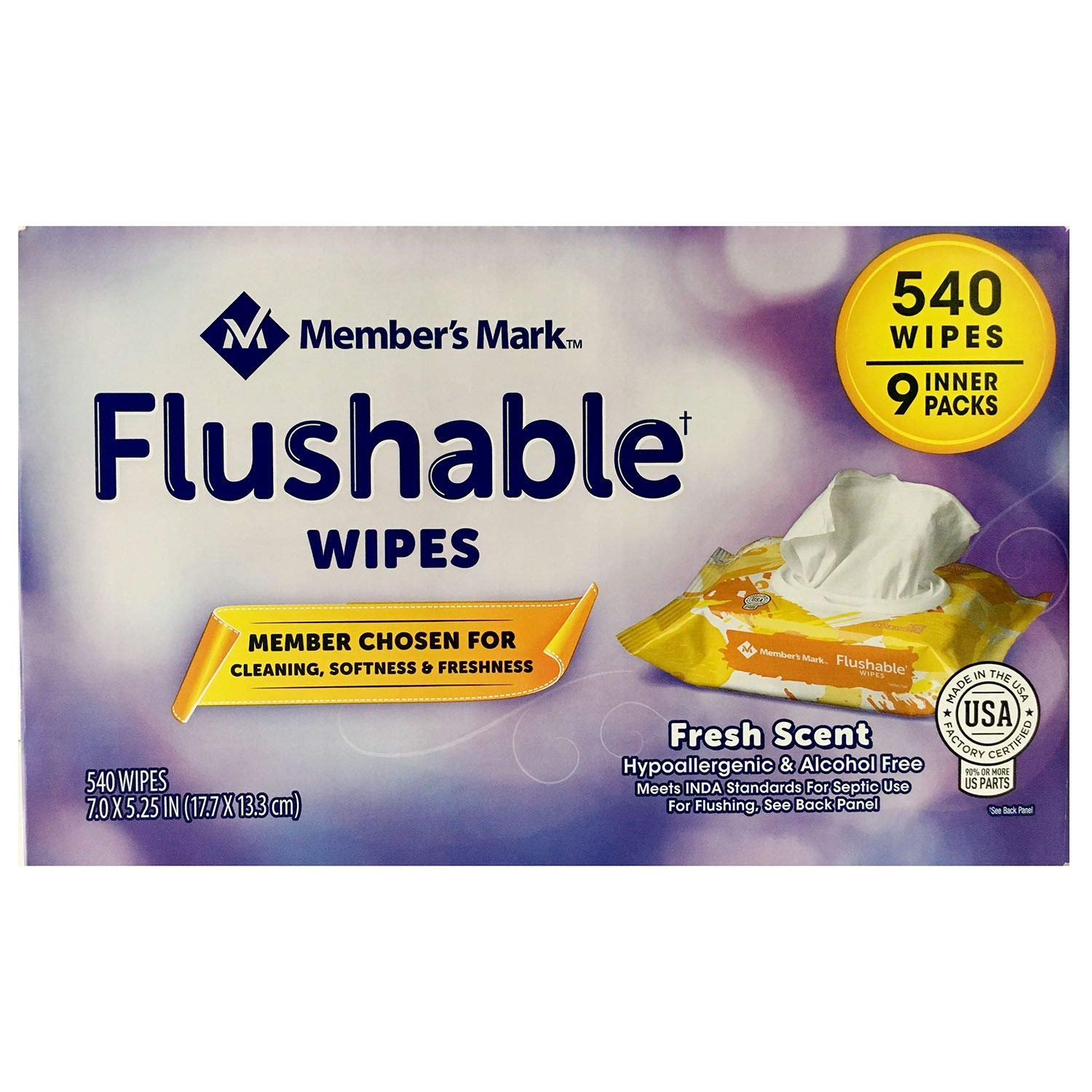 Member's Mark Flushable Wipes (9 pk, 540 wipes) (pack of 2) by Members Mark