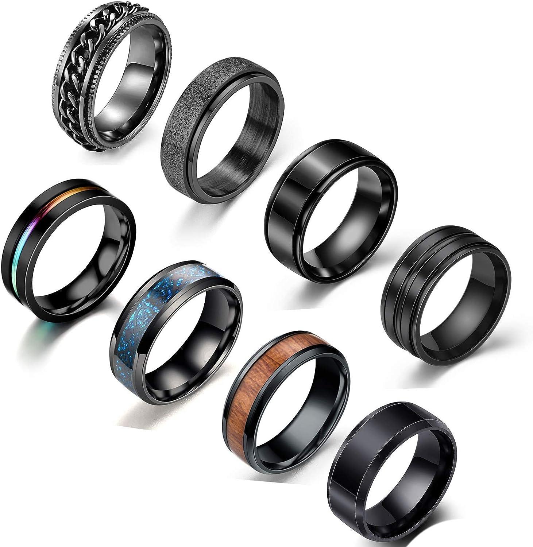 JEWPARK 8Pcs Stainless Steel Black Fidget Band Rings for Women Mens Cool Spinner Rings 6/8MM Wide Wedding Pormise Band Ring Set, Size 7-11
