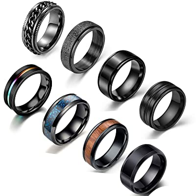 WAINIS 5 Pcs Stainless Steel Spinner Fidget Rings for Men Women Cool Release Anxiety Band Ring Set Size 7-11
