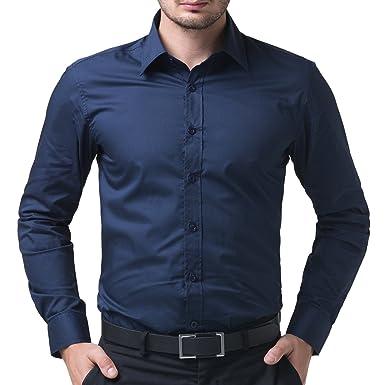 d1d468117 BEING FAB Men's Solid 100% Cotton Regular Fit Casual Navy Blue Shirt ...