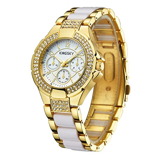 Las mujeres oro relojes Kingsky marca Rhinestone banda japón movimiento de cuarzo reloj de pulsera, moda 011011: Amazon.es: Relojes
