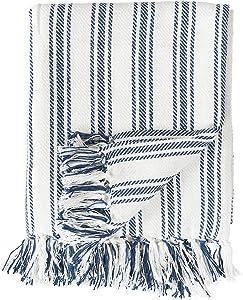 C&F Home Ticking Stripe Cotton Throw Blanket Farmhouse Navy 50 x 60 Throw Navy