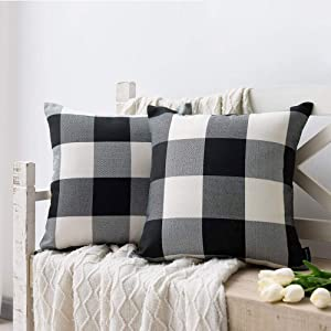 Nestinco Set of 2 Buffalo Check Pillow Covers Black and White Plaid Decorative Throw Pillow Covers 18 x 18 for Farmhouse Home Decor