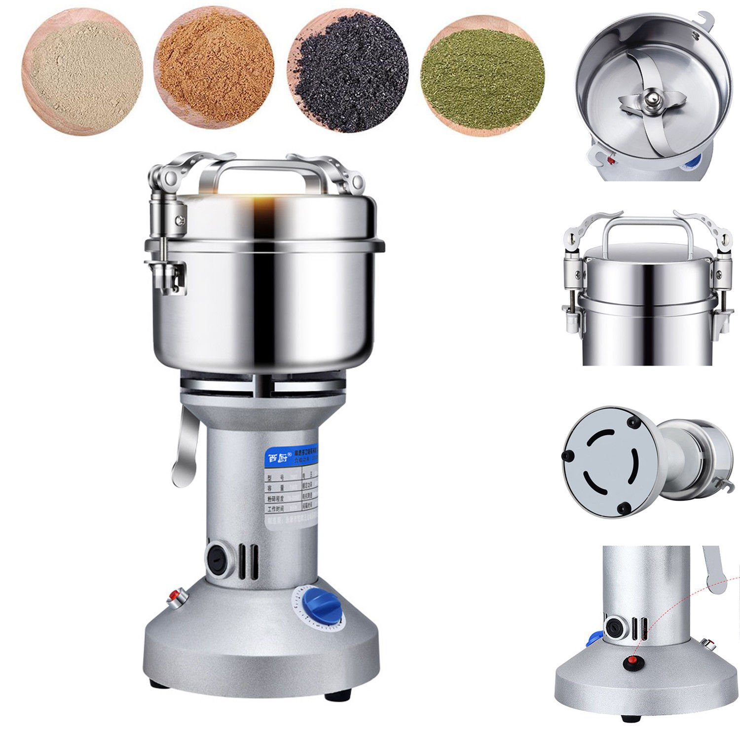 220V 550W 750g High Performance Grain Grinder Mill Powder Stainless Electric Machine Swing Commercial Type YUEWO