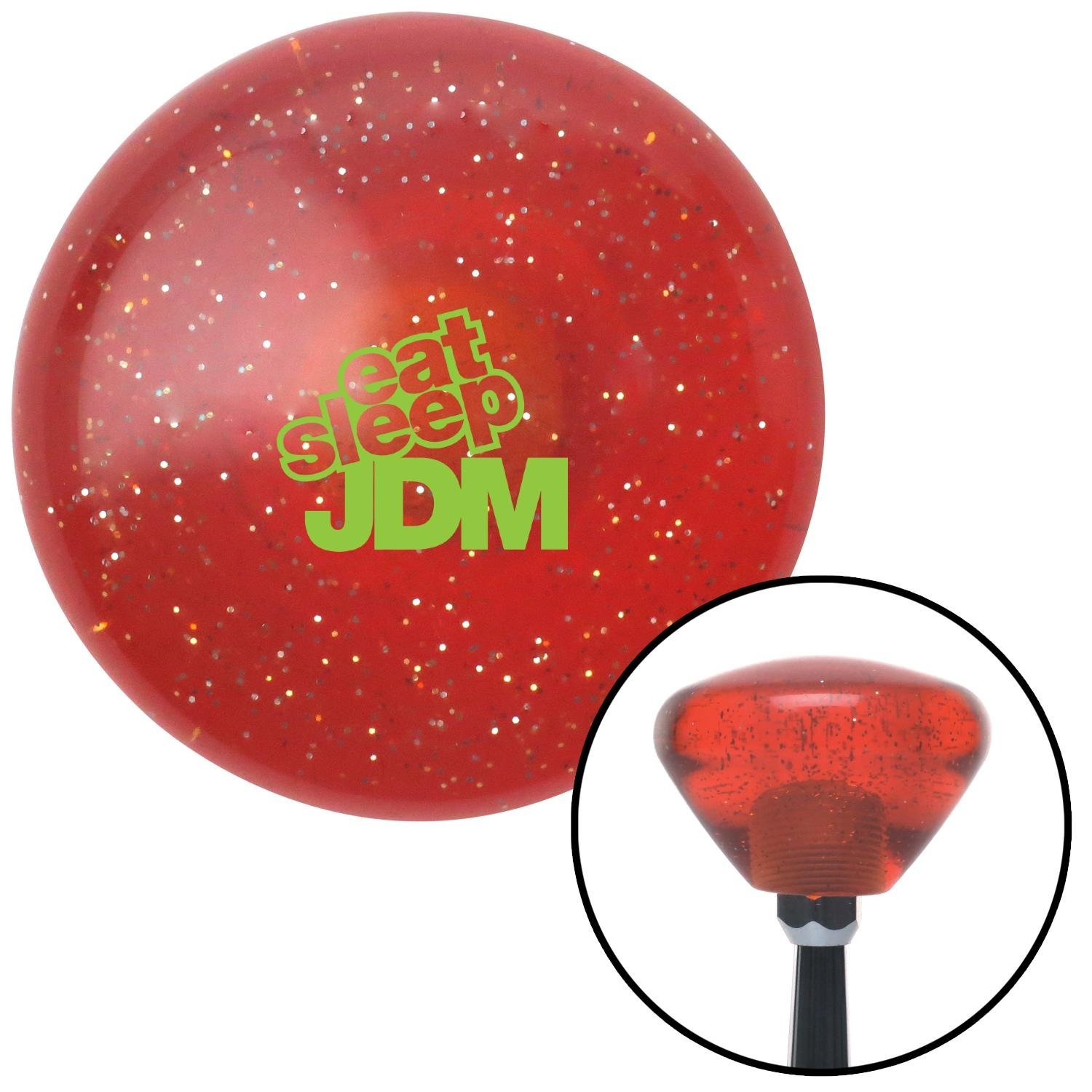 Green Eat Sleep JDM Text Orange Retro Metal Flake with M16 x 1.5 Insert American Shifter 288616 Shift Knob