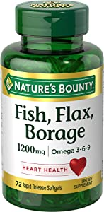 Nature's Bounty Fish, Flax, Borage 1200 mg Omega 3-6-9, 72 Softgels