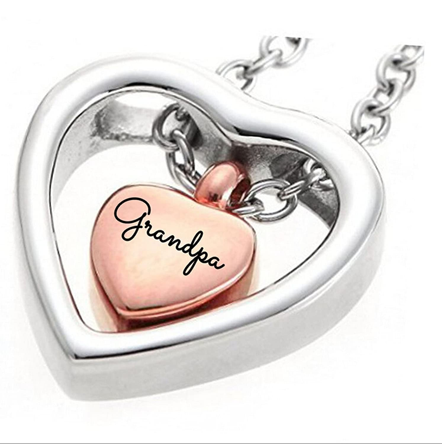 Aienid Necklace for Daughter Ashes Necklace Grandpa Heart Double Ashes Holder Cremation