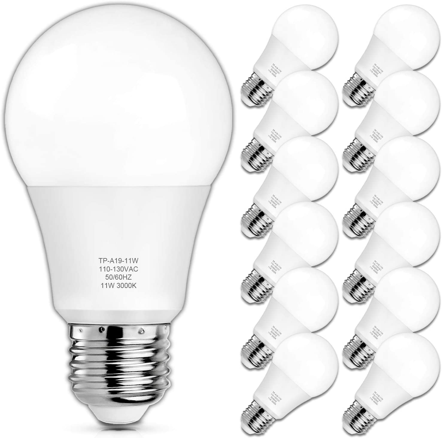 Amazon Com A19 Led Light Bulbs 100 Watt Equivalent Led Bulbs 3000k Soft White 1100 Lumens Standard E26 Medium Screw Base Cri 85 25000 Hours Lifespan No Flicker Non Dimmable Pack Of 12 Home Improvement