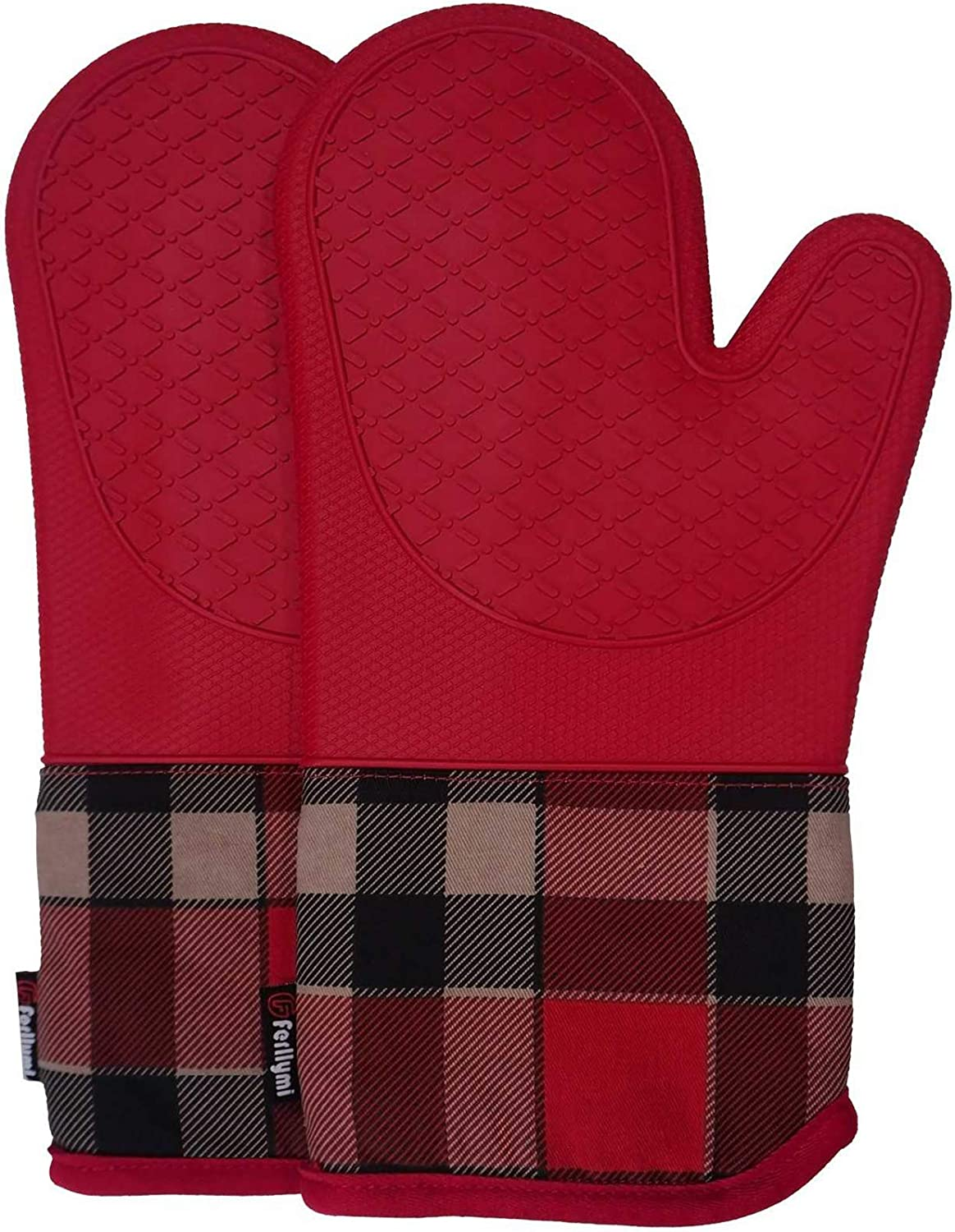 Heat Resistant Silicone Shell Kitchen Oven Mitts for 500 Degrees with waterproof, Set of 2 Oven Gloves with cotton lining for BBQ Cooking set Baking Grilling Barbecue Microwave Machine Washable Red-1