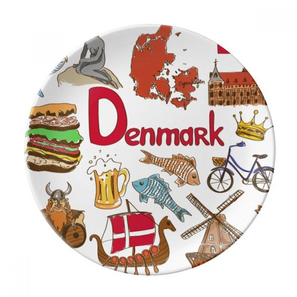 Denmark Landscap Animals National Flag Dessert Plate Decorative Porcelain 8 inch Dinner Home