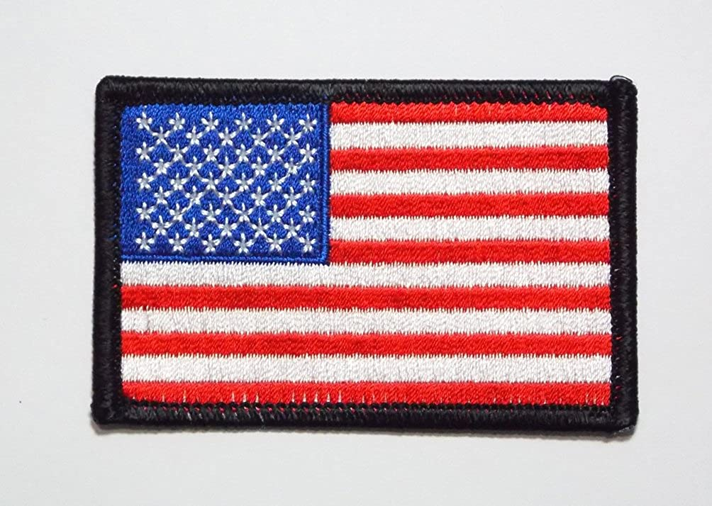 USA STARS /& STRIPES AMERICAN FLAG Iron-On Patch Badge 4""