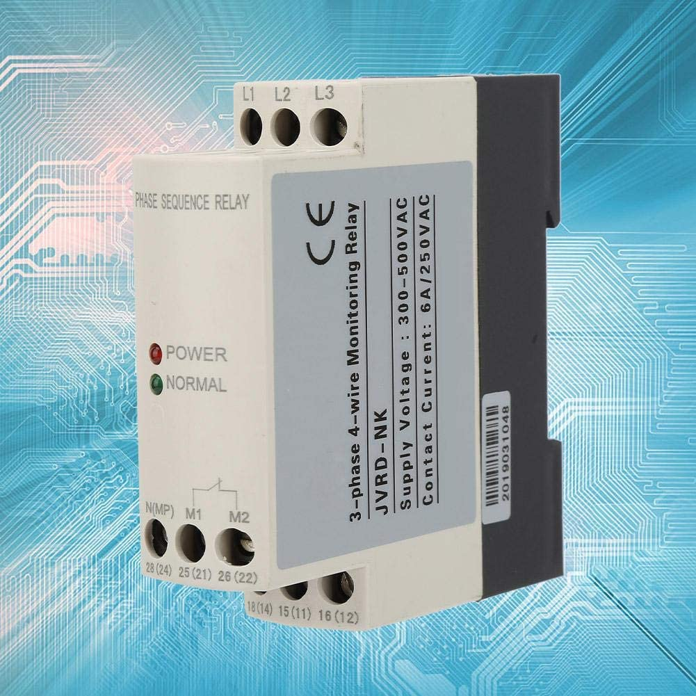 3 Phase Monitoring Relay 300-500V AC 50//60Hz 4-Wire 3-Phase Sequence Relay Protector Voltage Protective Relay 3A Phase Failure Phase Error Voltage Imbalance