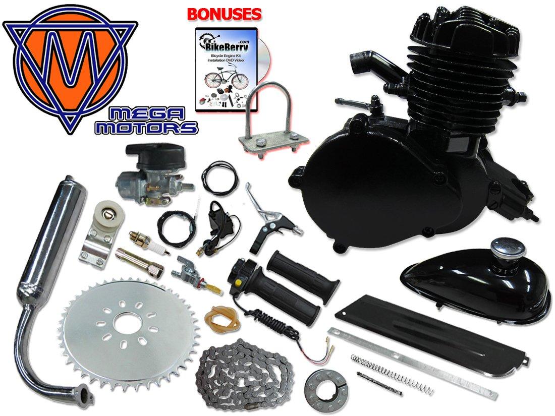 Mega Motors 48cc Black Angle Fire Bicycle Engine Kit - 2 Stroke by Mega Motors (Image #1)