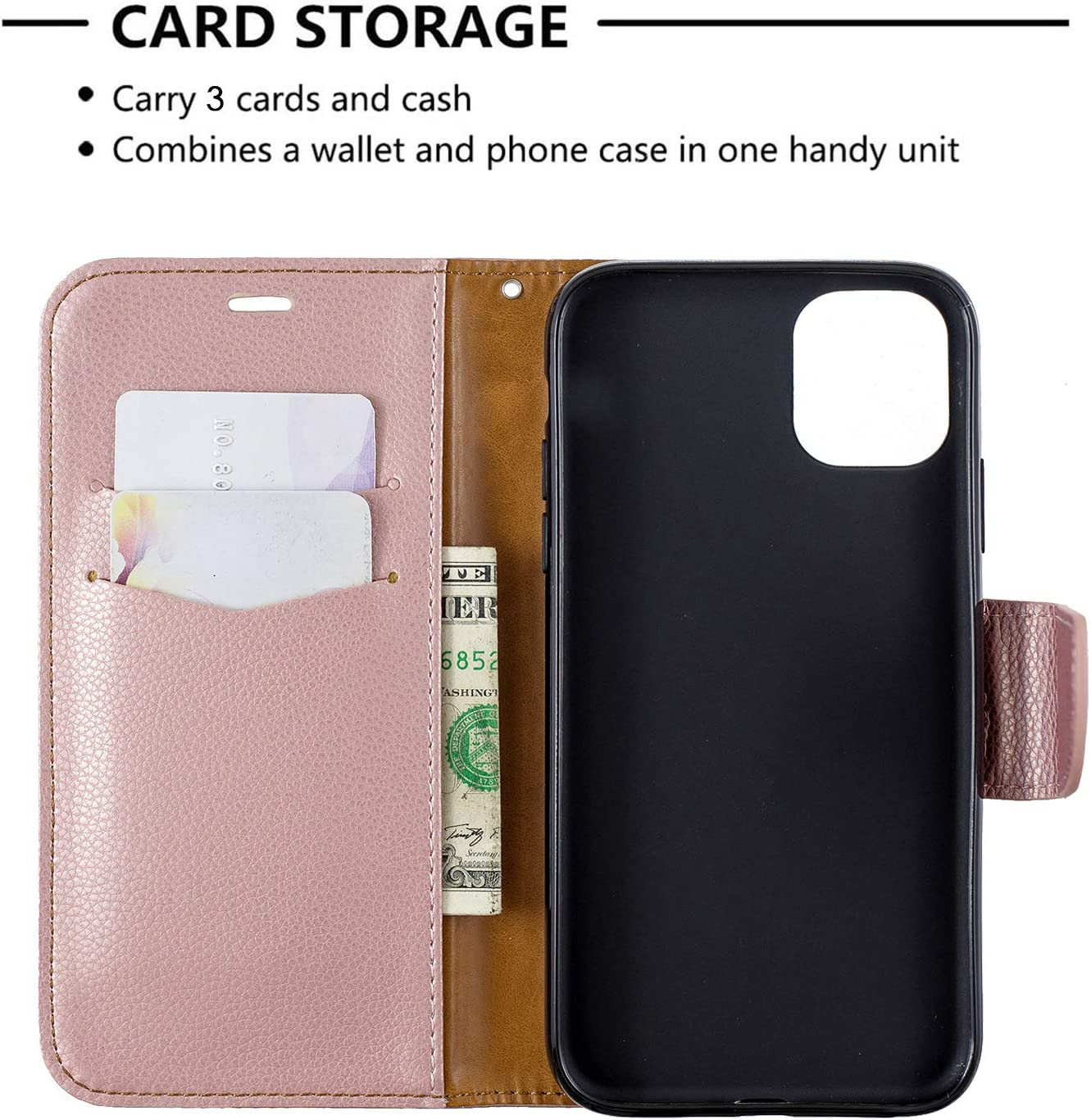 Shockproof Flip Case Cover for Apple iPhone 11 2019 with Stand Feature Card Holder Magnetic Closure 6.1 Lomogo Leather Wallet Case for iPhone 11 LOBFE130535 Black