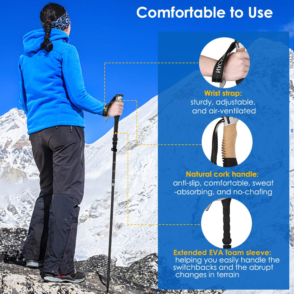 NACATIN Trekking Poles Collapsible Hiking Poles 2 Pack Aluminum Alloy 7075 Backpacking Walking Sticks,Antishock and Quick Lock System, Telescopic, Collapsible, Ultralight for Hiking, Camping