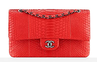 c4e5d92b7571 Image Unavailable. Image not available for. Colour: New Chanel Red Python  Classic Flap Bag