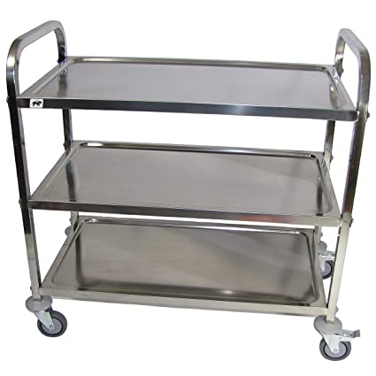 Crayata Ssc3lg Large Rolling Stainless Steel Utility Cart Heavy Duty Food Service And Bus Cart 3 Shelf Supports Up To 400 Pounds 4 Inch Wheels