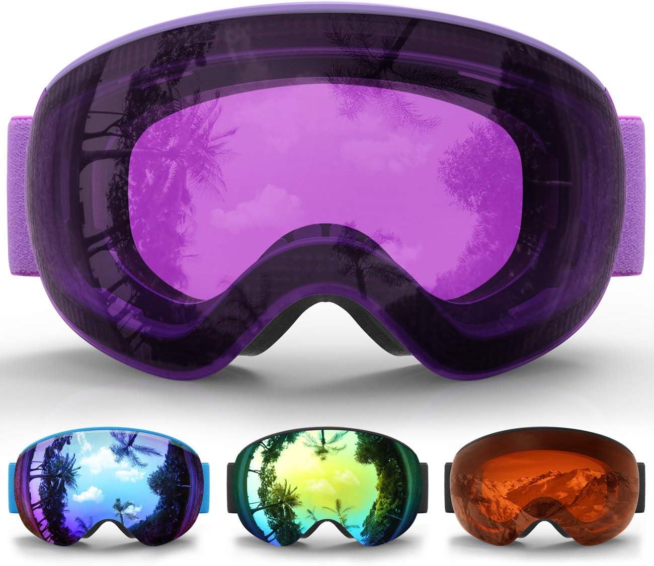 Gafas de Esquí Niños, eDriveTech Máscara Gafas Esqui Snowboard Nieve Espejo para Niño Niña Júnior Chicos Chicas 3 4 5 6 7 8 9 10 11 12 13 14 15 Años Anti Niebla Gafas de Esquiar OTG Protección UV