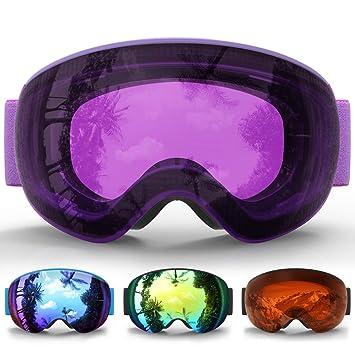 eDriveTech Masque de Ski, Lunette Masque Ski Snowboard Neige Miroir pour Homme  Femme Adulte Jeunesse c9fae42bf66